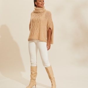 NWOT Odd Molly Mohair Poncho Cable Knit in Camel